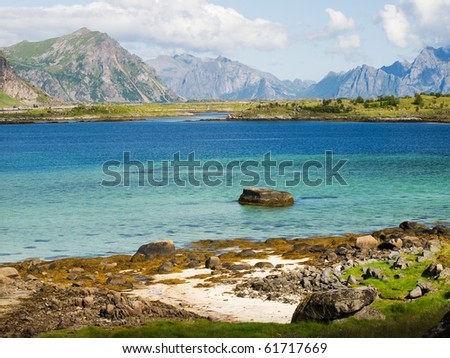 Rocky coast of the Vestvagoy island, Lofoten, Norway