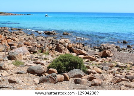 Rocky coastline at Bunker's bay  south western Australia on a hot summer morning.