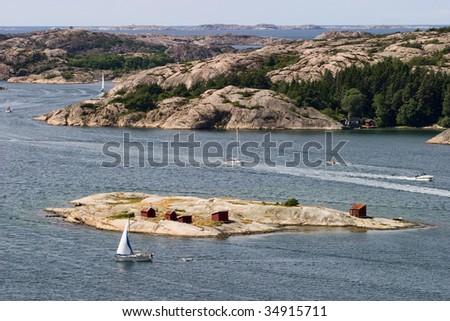 Rocky coastline at west coast archipelago in Sweden - stock photo
