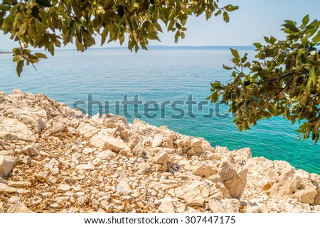 Rocky coastline beach and crystal clear blue sea on the coast of island Krk, Croatia, with some branches, Adriatic sea, Mediterranean, with other islands in the background on a bright hot summer day - stock photo