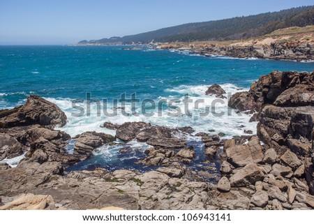 Rocky coastline in Salt Point State Park, Sonoma County, California - stock photo