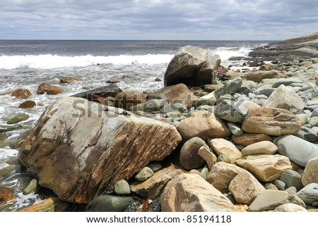 Rocky coastline of Atlantic Canada - stock photo