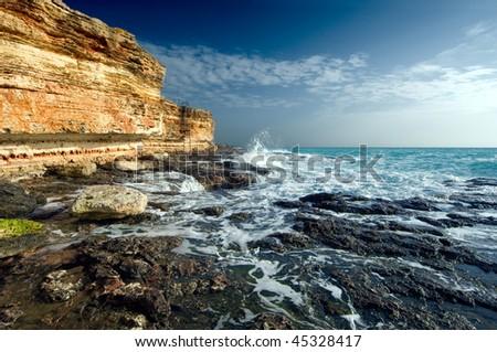 Rocky coastline of Black Sea - stock photo
