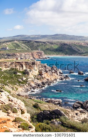 Rocky coastline of Malta