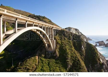 Rocky Creek Bridge is a reinforced concrete open-spandrel  arch bridge in California, built in 1932. - stock photo