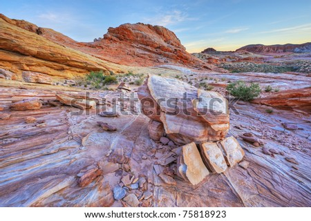 Rocky, desert landscape at twilight Valley of Fire State Park, Nevada, USA
