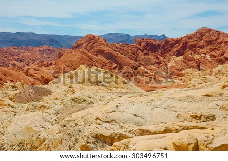 rocky deserts in nevada united states - stock photo