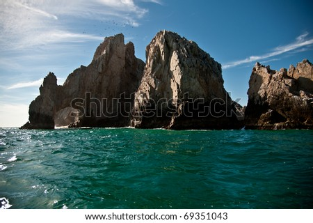 Rocky formation in the ocean - stock photo