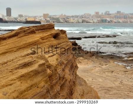 Rocky formations in confital beach, Las Palmas of Gran canaria, Canary islands - stock photo