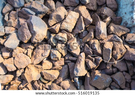 rocky gravel stones for Train Tracks, stone background or texture