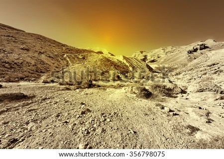 Rocky Hills of the Negev Desert in Israel at Sunset
