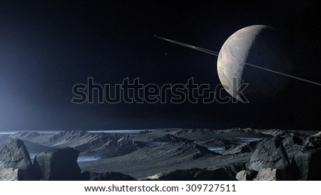 Rocky Icy Planet Planetary Cosmic Background - stock photo