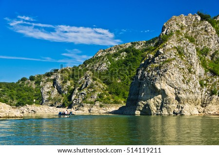 Rocky landscape of river Uvac gorge at sunny summer morning, southwest Serbia