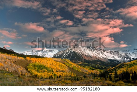 Rocky Mountain Autumn Mount Sneffels - stock photo