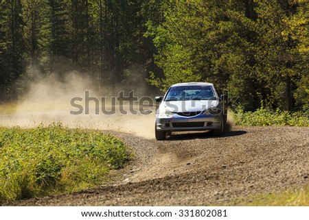ROCKY MOUNTAIN - CANADA. 23.08.2015:Test Day Some of the best drivers from Canada are competing in the Rocky Mountain. The test held in different province of Canada's best dirt roads for motor-sport. - stock photo