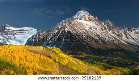 Rocky Mountain Colorado Autumn  Mount Sneffels - stock photo