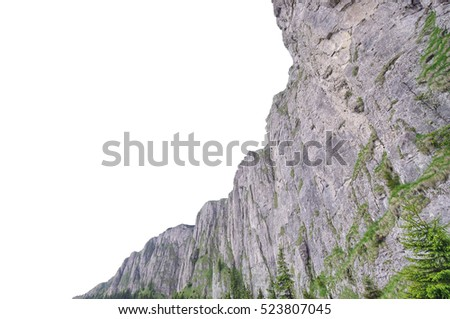 rocky mountain formation isolated on white background
