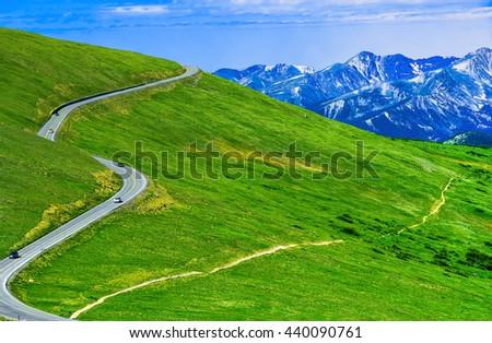 Rocky Mountain national park alpine landscape and winding road.  Colorado, USA. - stock photo