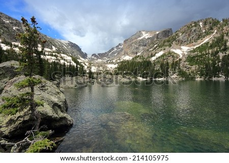 Rocky Mountain National Park in Colorado, USA. Lake Haiyaha view with Flattop Mountain. - stock photo