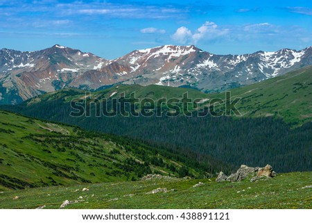 Rocky Mountain National Park mountain range and meadow.  Rocky Mountain National Park, Colorado USA. - stock photo