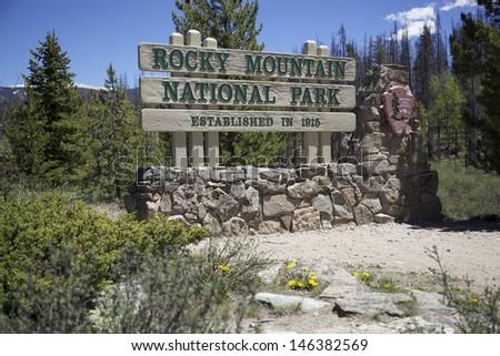 Rocky Mountain National Park Sign - stock photo