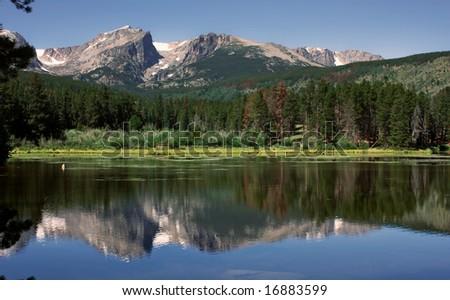 Rocky Mountain National Park Sprague Lake Reflection - stock photo