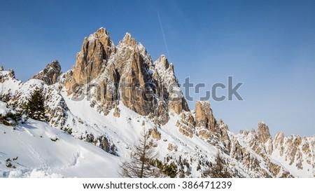Rocky mountain peaks in the Dolomites, Italian Alps - stock photo