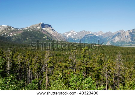 Rocky mountain ridge and forests in glacier national park, montana, usa - stock photo