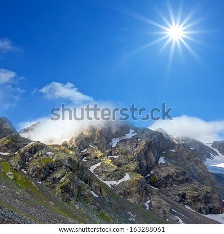 rocky mountain scene - stock photo