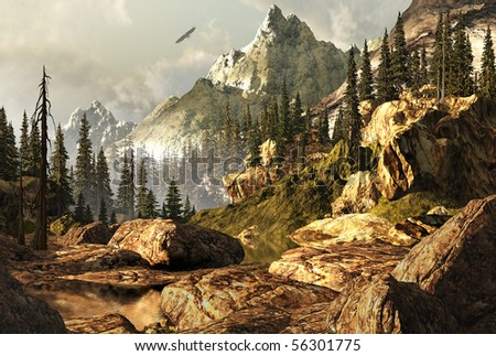 Rocky Mountain scene with bald eagle soaring in the far distance. - stock photo