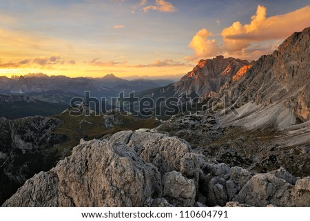 Rocky mountain scenery, Dolomites, Italy - stock photo