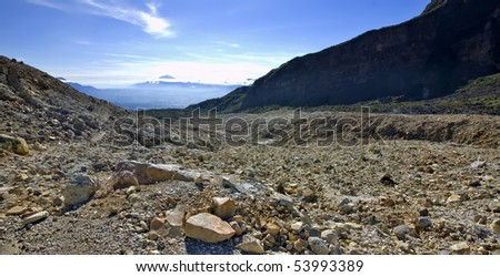 Rocky mountain scenery on mount papandayan, indonesia