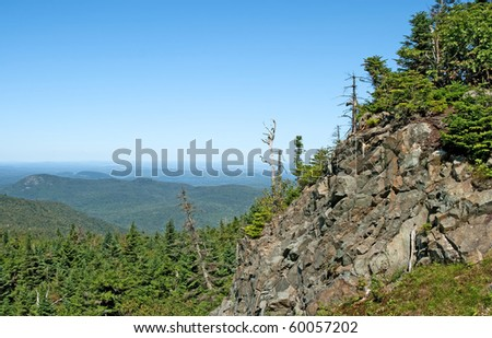 Rocky mountain slope with view over green coniferous forest. - stock photo