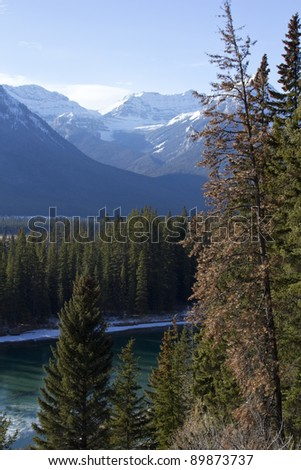 Rocky Mountains along the Bow Valley Parkway in Banff National Park