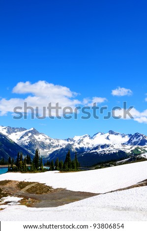 Rocky mountains at Whistler, Canada, home of the 2010 Winter Olympics - stock photo