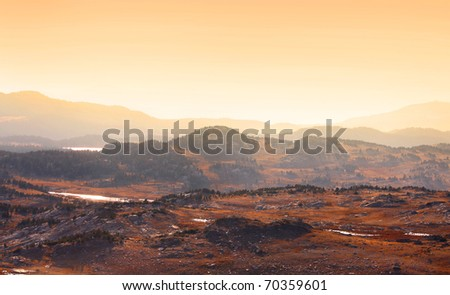 Rocky mountains from scenic Beartooth highway in Montana - stock photo