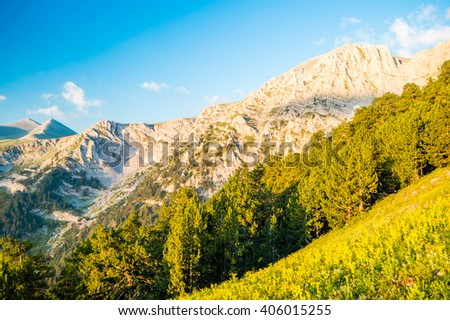 Rocky mountains in Olympus National Park, Greece - stock photo