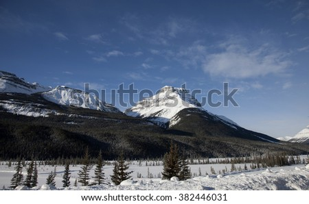 Rocky Mountains in Winter Canada Icefields Parkway - stock photo