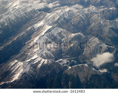 Rocky Mountains of Alberta, Canada; aerial view with Mt. Yamnuska in bottom right - stock photo