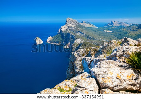 rocky mountains of cape Formentor in Mallorca, Spain - stock photo