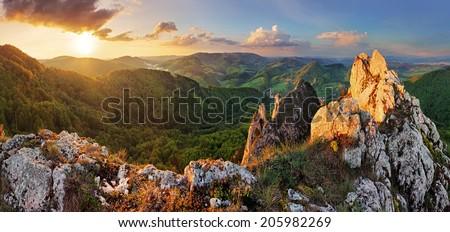 Rocky moutain at sunset - Slovakia - stock photo