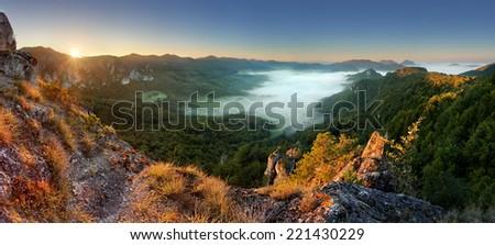 Rocky moutain at sunset - Slovakia, Sulov - stock photo