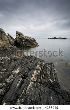 Rocky, North Ireland landscape during cloudy day