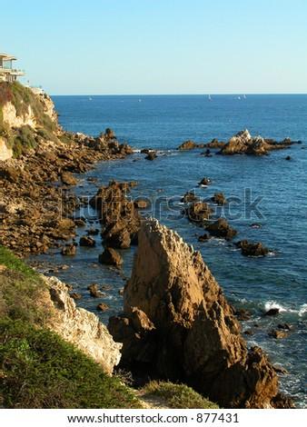 Rocky ocean shoreline - stock photo