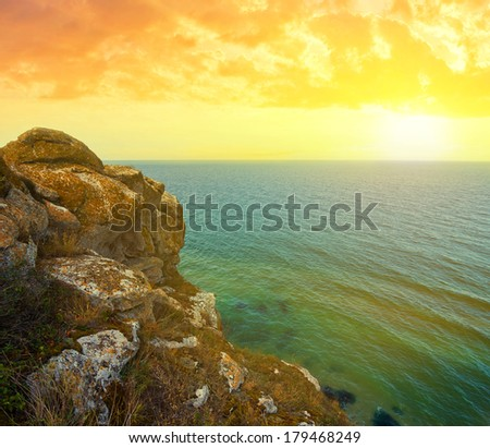 rocky sea coast at the evening