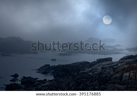 Rocky sea coast in a foggy full moon night. Were used some digital filters including noise. - stock photo