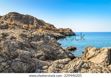 Rocky sea lanscape on Crete island, Greece - stock photo