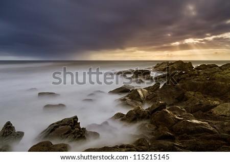 Rocky Seascape Scene - stock photo