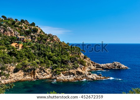 Rocky seaside of Tossa de Mar. Costa Brava, Spain