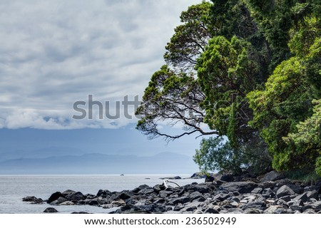 rocky shore at East Sooke Regional Park, near Victoria, BC, Canada - stock photo